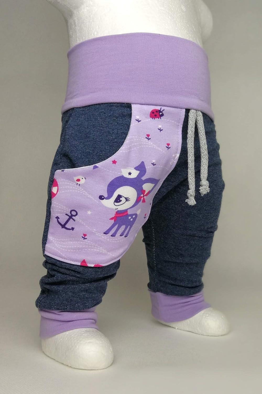 Baby Pumphose mit Tasche Hafenkitz Lila handmade Puschel-Design