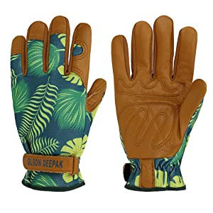 OLSON DEEPAK Womens Gardening Gloves with Grain Leather for Yard Work, Rose Pruning and Daily Work perfect fitting for women Garden Gloves with Fashion palm leaf pattern(Medium, normal-cuffs)