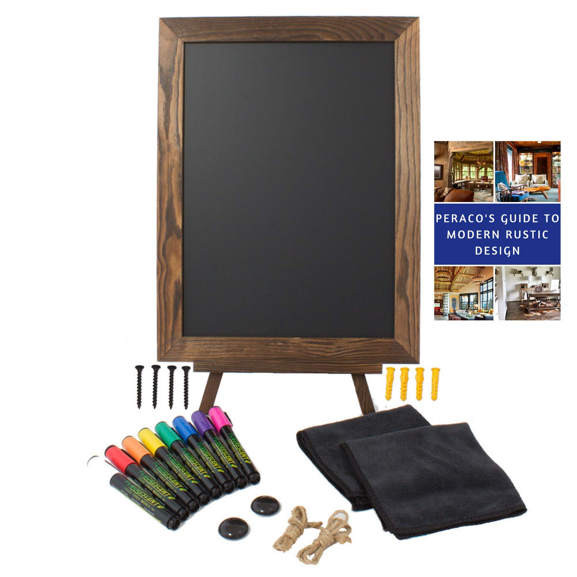 16''x12'' Magnetic Rustic Chalkboard Sign with Accessories - Includes 8 Liquid Chalk Markers, 2 Magnets, 2 Microfiber Towels, 1 Chalkboard Easel Stand, and 2 Pieces of Rope -Perfect for Decor by Peraco by Peraco