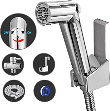 Anza Handheld Bidet Sprayer Set Premium Water Shattaf Baby Shower Cloth Diaper Spray Attachment Toilet Cleaner Pressure Control Including T Valve Bidets Amazon Canada