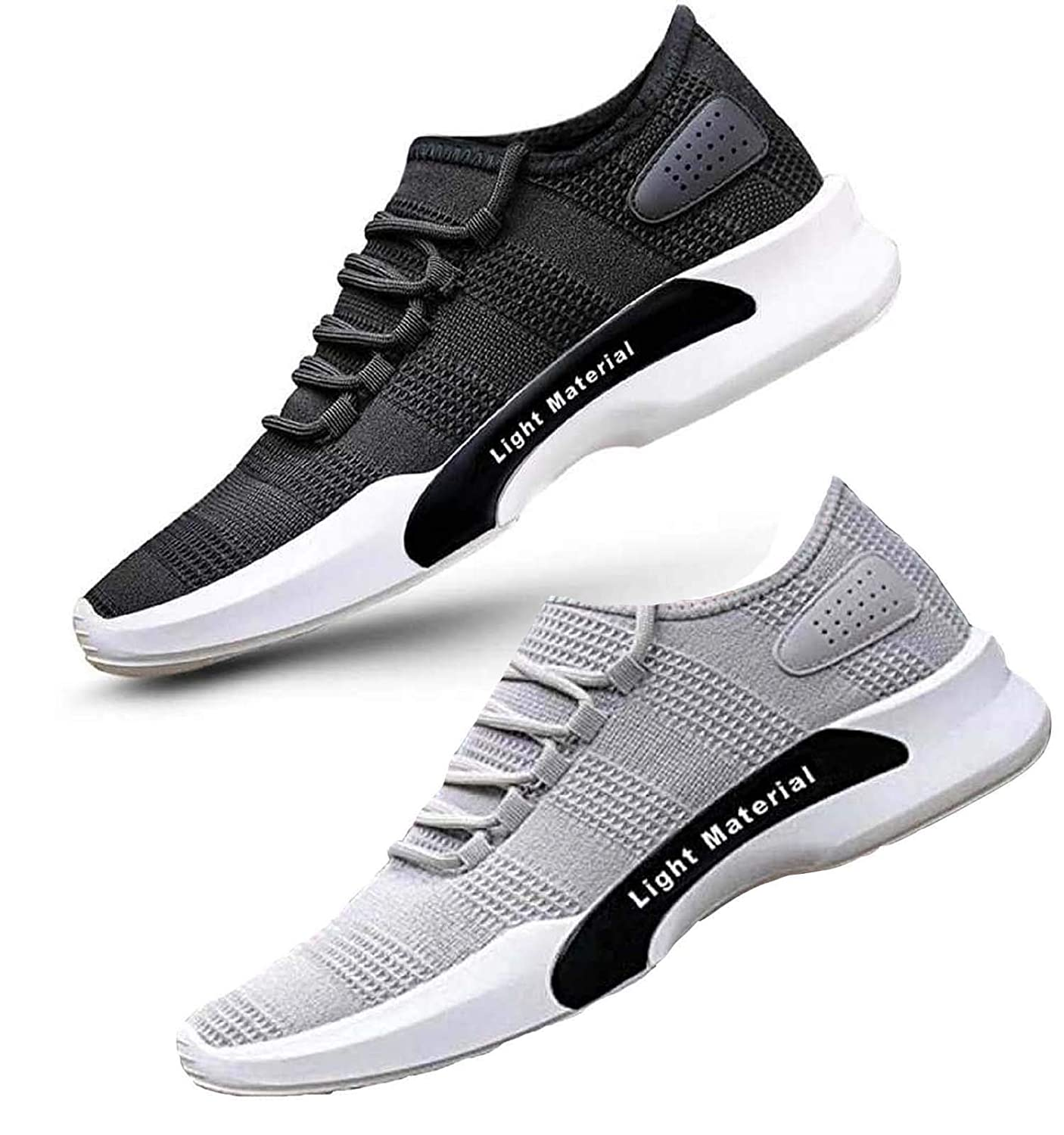 Ethics Combo Pack of 2 Perfect Black-Grey Casual Shoes for Men's