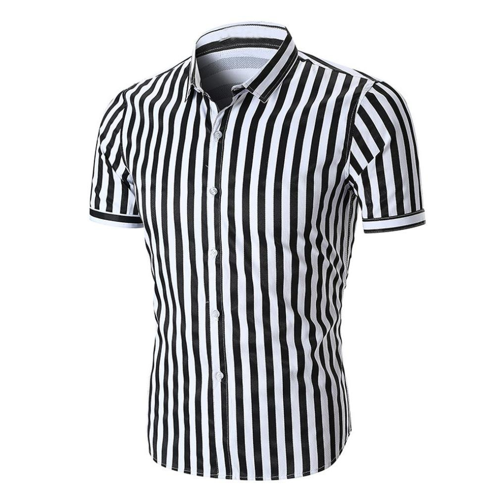 GREFER Hot Sale Men's Summer Short Sleeve Striped Shirt Top Blouse Tee Shirt