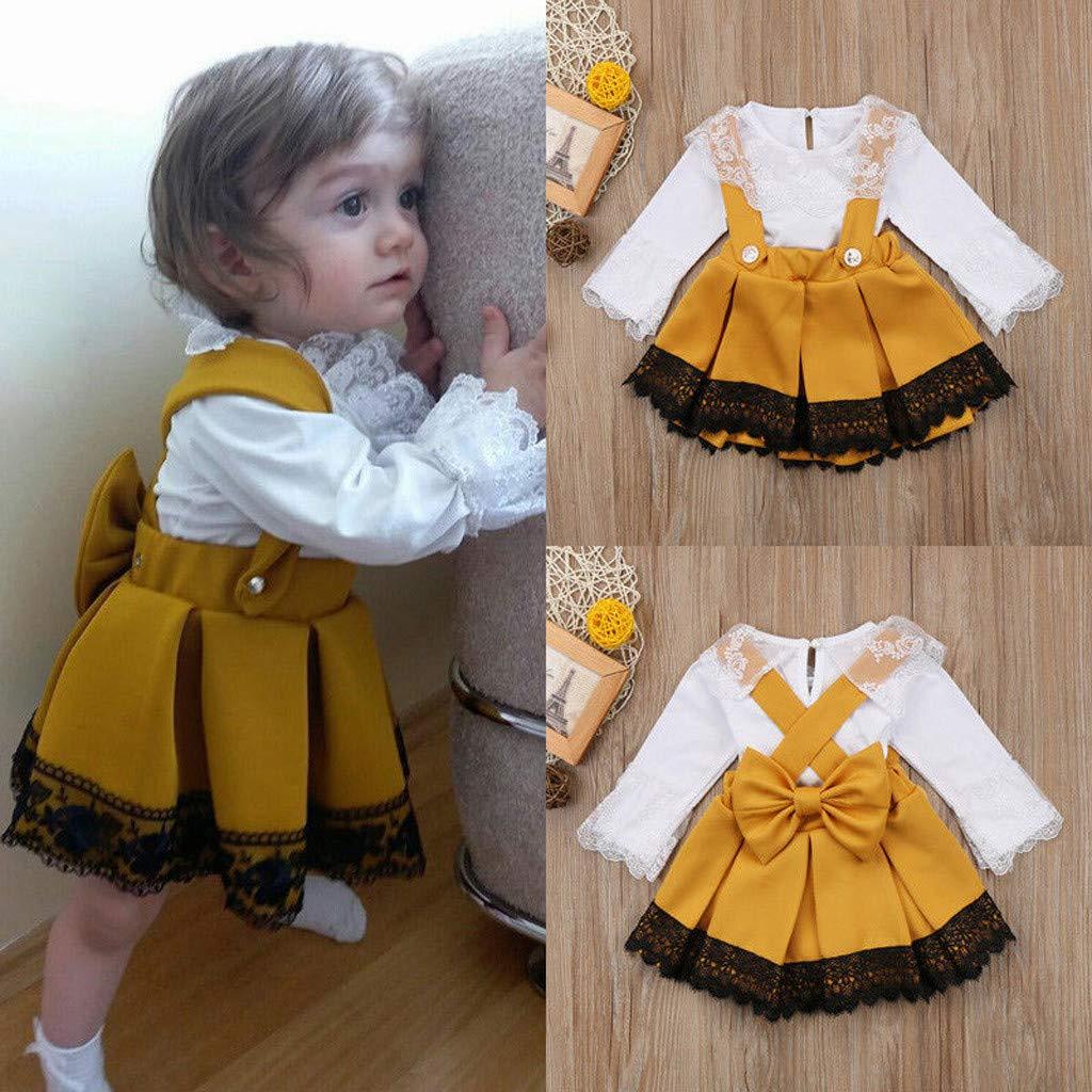 cinnamou Kind Baby M/ädchen Spitzen Strampler Tops Bow Princess Party Kleid Outfit Set 3-24M,2 bis 3 Jahre