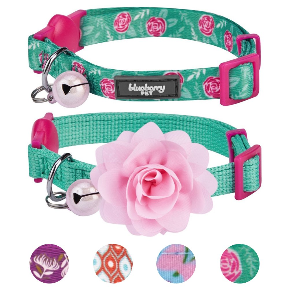 Blueberry Pet 4 Designs Pack of 2 Cat Collars, The Power of All in One Relaxing Jungle Green Adjustable Breakaway Cat Collar for Girl & Boy with Bell & Detachable Flower, Neck 9''-13''