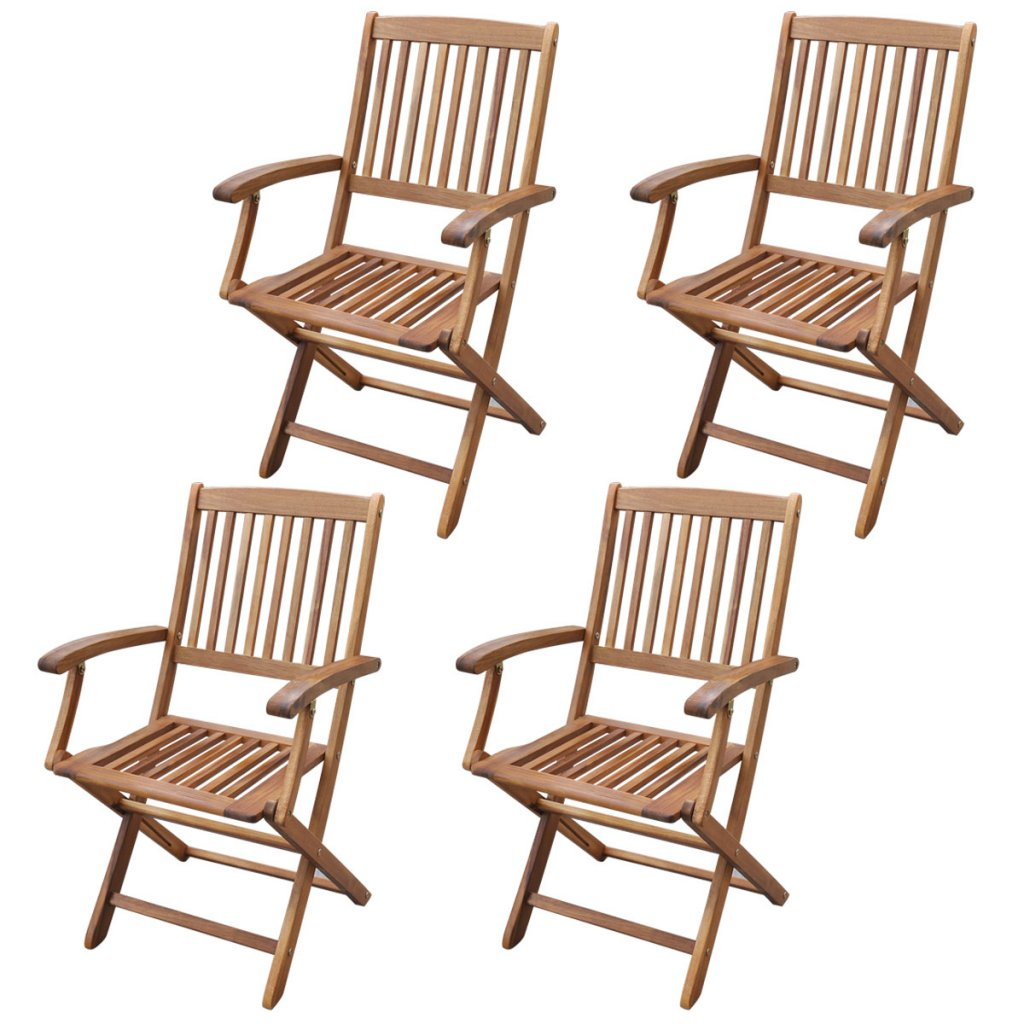 Festnight 5 Piece Folding Outdoor Patio Dining Set with Slatted Chairs, Acacia Wood