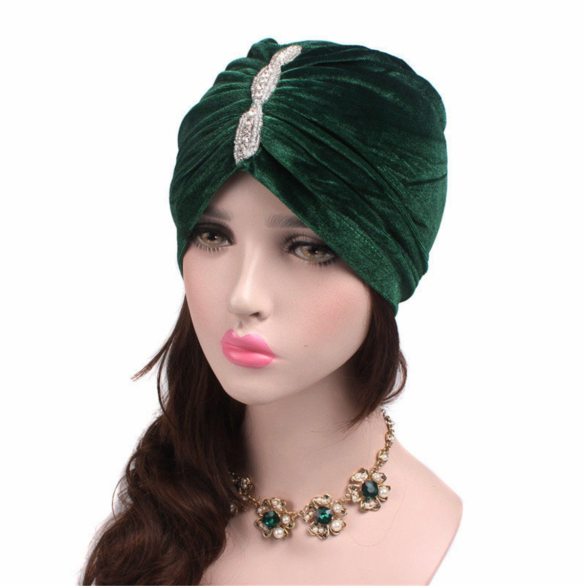 Vintage Hair Accessories: Combs, Headbands, Flowers, Scarf, Wigs Qhome Fashion Women Luxury Diamante Soft Velvet Turban Headband India Muslim Hat Chemo Beanie Hat Turbante Hair Accessories $10.99 AT vintagedancer.com