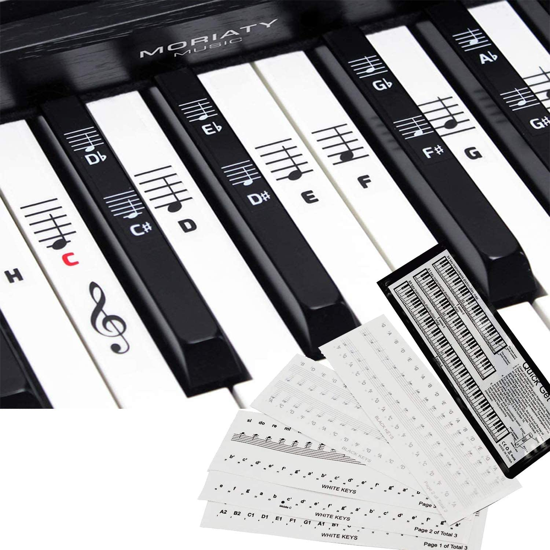 [Paquete de 2] Etiquetas para partituras para teclado de piano, pegatinas para instrumentos musicales con 49. 61. 76. 88 teclas de piano, pegatinas ...