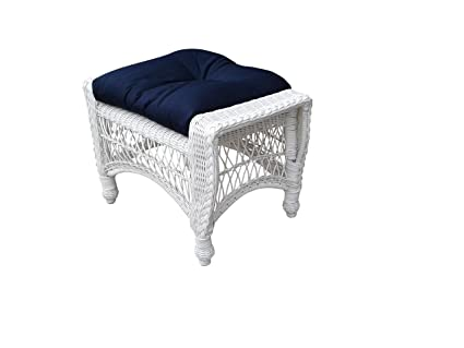 Incredible Wicker Paradise Cc5 W Navy Madison Outdoor Ottoman White Navy Inzonedesignstudio Interior Chair Design Inzonedesignstudiocom