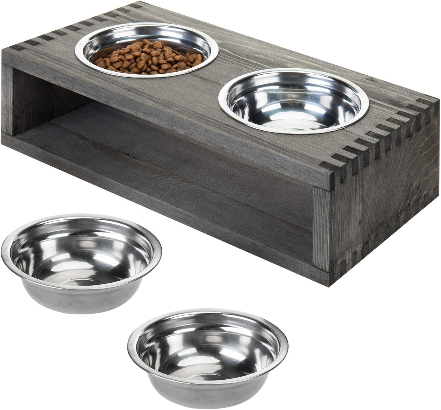 MyGift Vintage Gray Wood Small Double Pet Dog or Cat Raised Feeder Stand with 4 Removable Stainless Steel Bowls