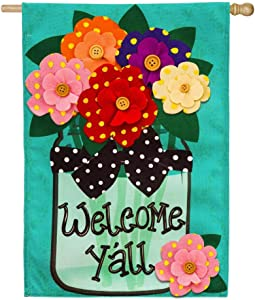 Ethereal Flag Welcome Y'all Polka Dot Flowers Burlap House Flag Outdoor Decor for Homes and Gardens 12.5x18