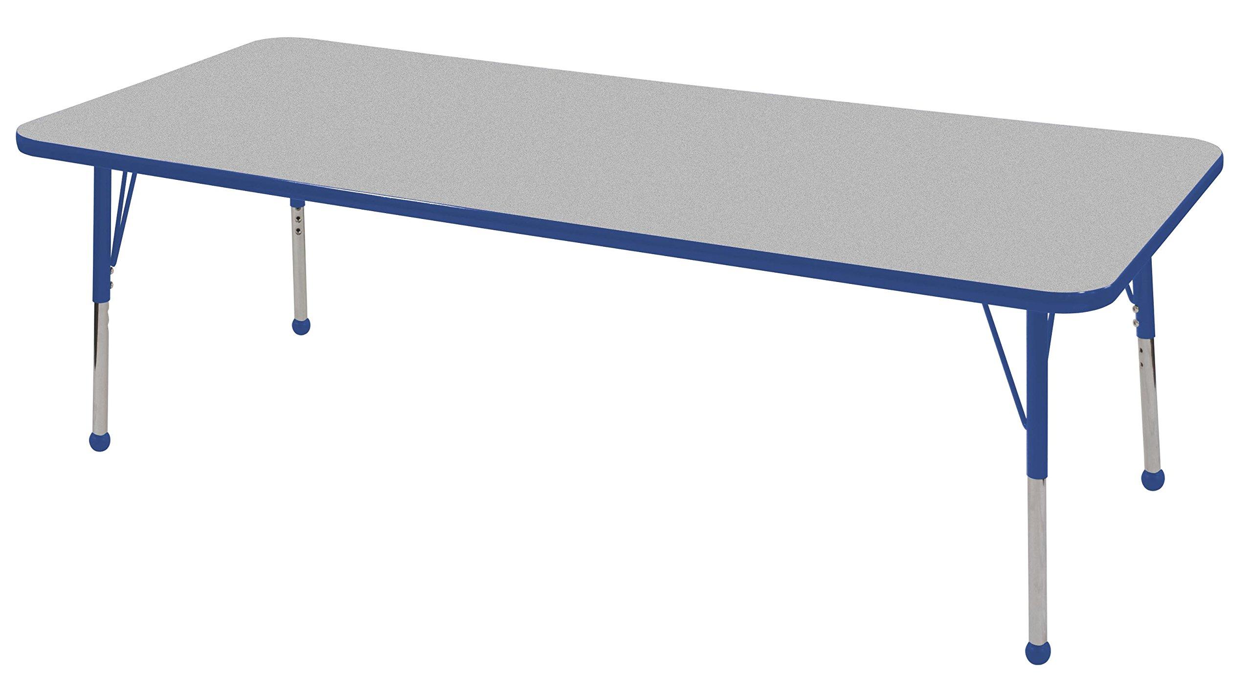 ECR4Kids 30'' x 72'' Rectangular Activity Table, Gray Top/Blue Edge, Standard Legs/Ball Glides, Eight 14'' Blue School Stack Chairs