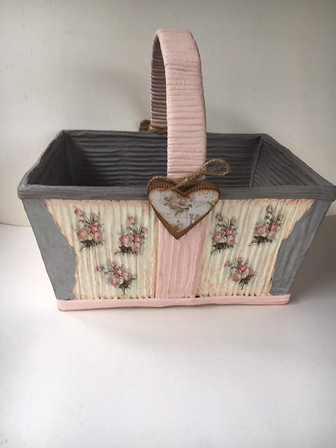 Caja de madera decorada en color rosa y gris: Amazon.es: Handmade