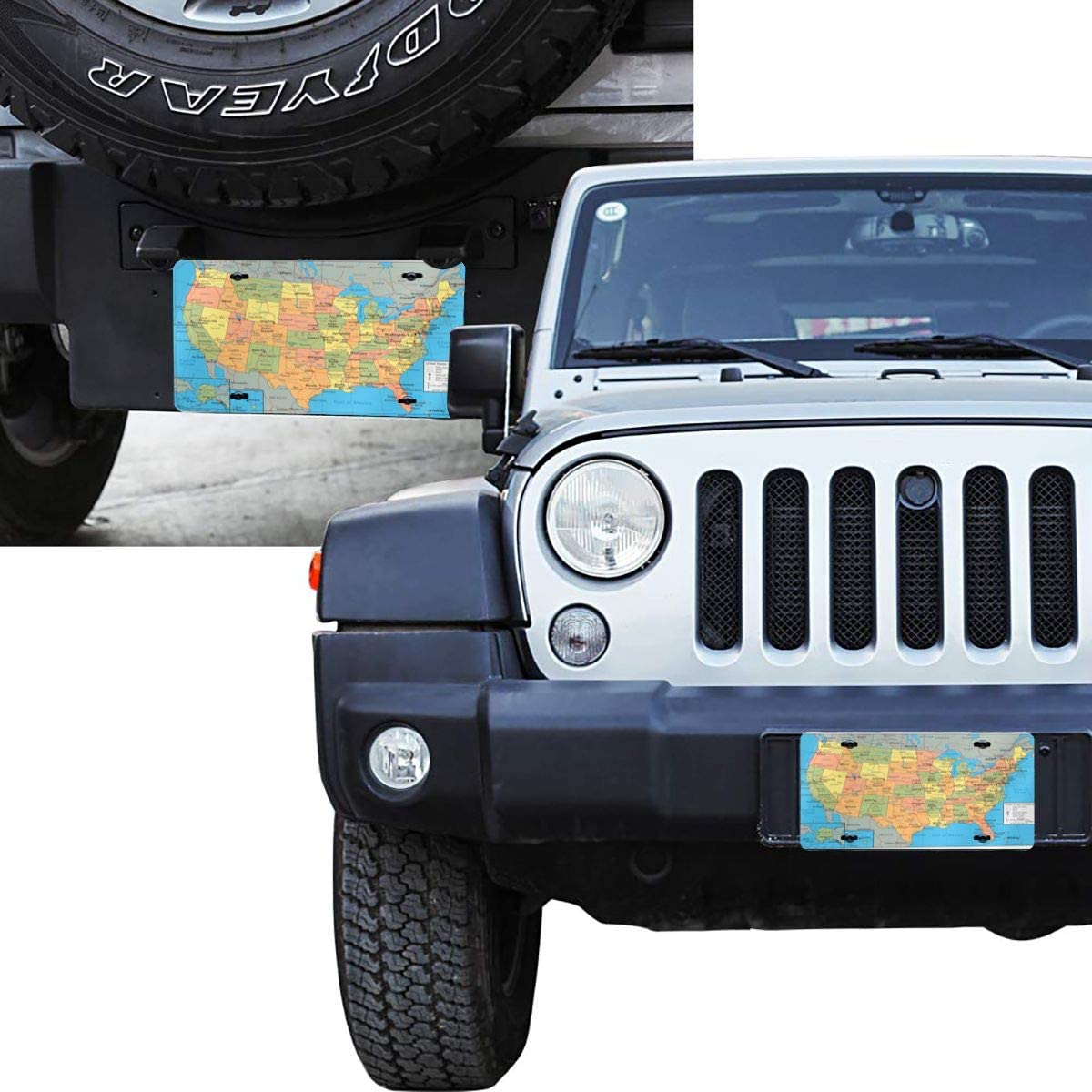 YiiHaanBuy Map of America License Plate,USA Map License Plate Aluminum Metal License Plate Car Tag Novelty Home Decoration for Women Girls Men Boys 6 Inch X 12 Inch