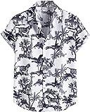 ZSBAYU Funky Hawaiian Shirt | Men | Linen | Short-Sleeve | Front-Pocket | Hawaiian-Print | Multiple Colours | Striped Print