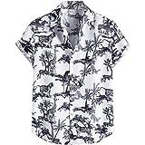 ZSBAYU Funky Hawaiian Shirt | Men | Linen | Short-Sleeve | Front-Pocket | Hawaiian-Print | Multiple Colours | Striped…