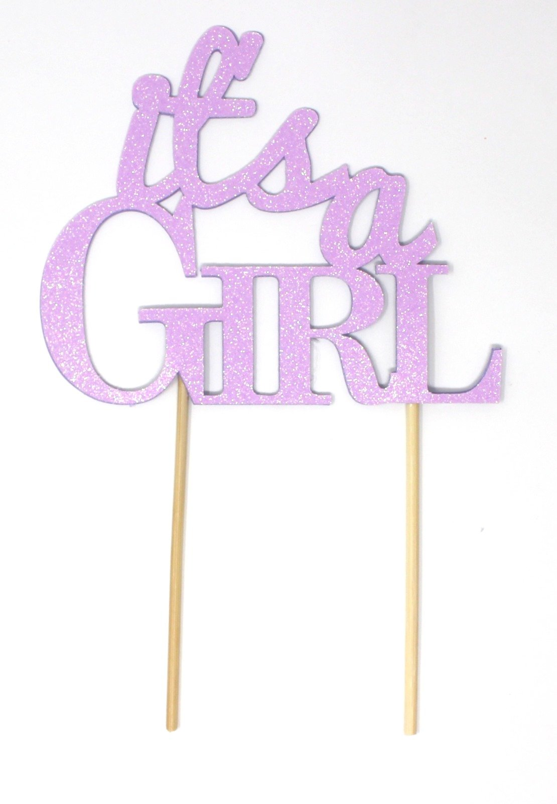 All About Details It's A Girl Cake Topper, 1pc, baby shower cake topper, Party Decor, baby shower decoration, Glitter Topper (Glitter Pastel Purple)