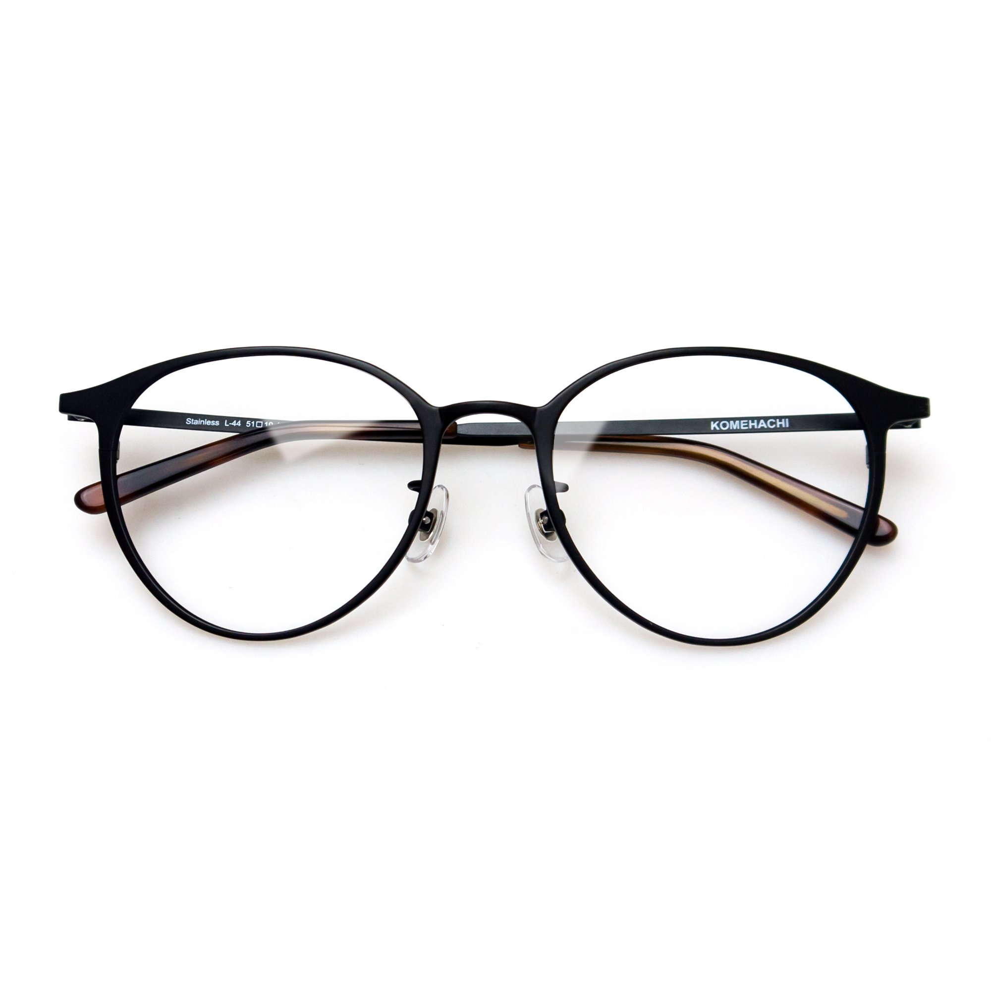 Komehachi - Super Light Unisex Vintage Simple Elegant Round Metal RX-Ready Eyeglasses Frame with Clear Lenses (Black) by Komehachi