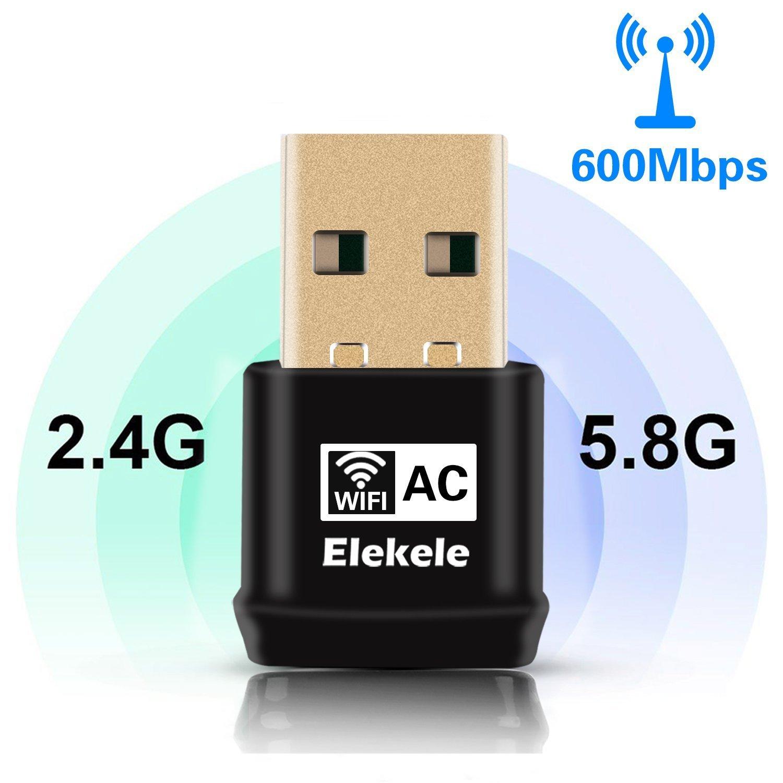 Bulary USB Wlan Adaptateur USB WiFi Adaptateur USB WiFi Dongle sans Fil Ré seau Adaptateur 600Mbps 802.11ac Dual Band 2.4G/5G avec Fonction WPS pour Bureau/Ordinateur Portable/PC