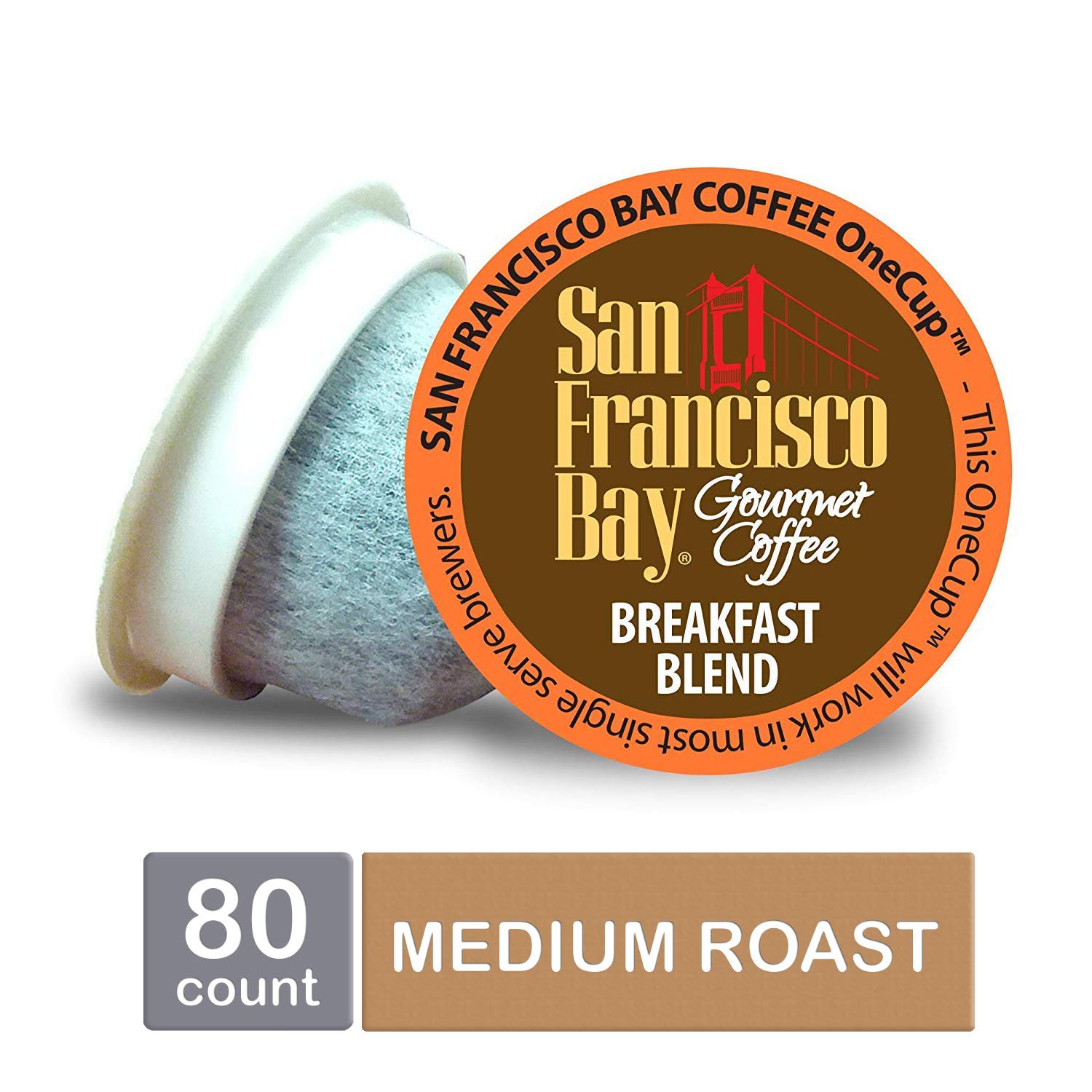 San Francisco Bay OneCup, Breakfast Blend, Single Serve Coffee K-Cup Pods (80 Count) Keurig Compatible by SAN FRANCISCO BAY