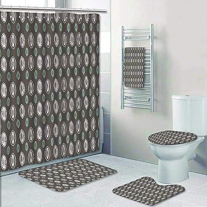 Amazon Com 5 Piece Bathroom Rug Set 3 Piece Bath Rugs With Fabric