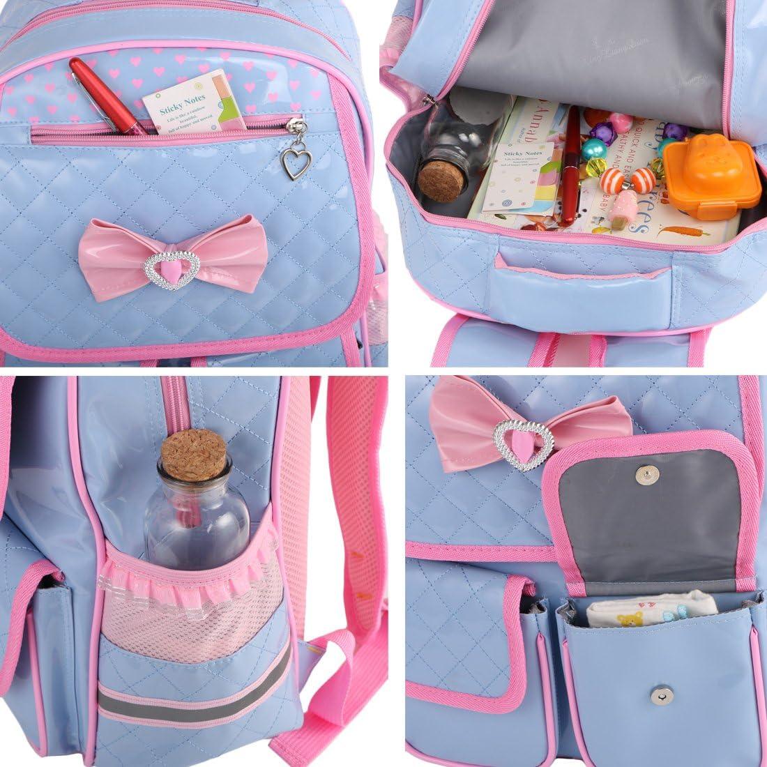 kilofly Girls PU Leather Laptop School Bag Travel Backpack Zippered Pouch Set