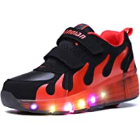 Mr. Ang Children Young Girls Roller Skate Shoes Sneaker Men Skateboard Skates with a wheel 7Colour Changing LED