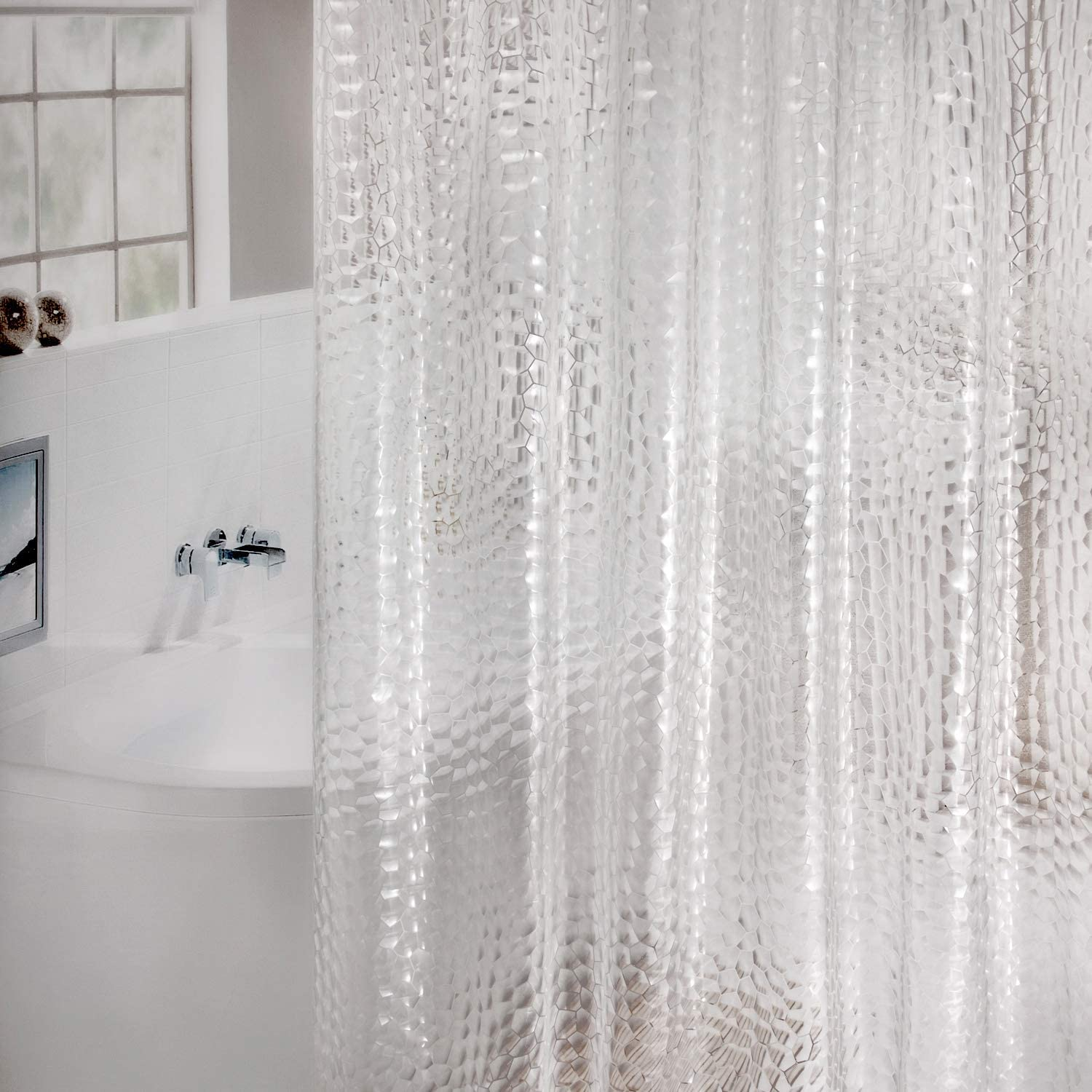 EVA Shower Curtains Water WELTRXE Shower Curtain Liner Heavy Duty with Magnets