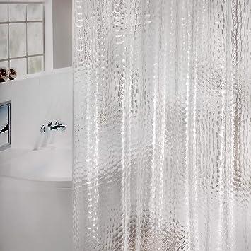 Bad Duschvorhang Wasserfest Badewannenvorhang Dusche Vorhang Weiß 180x200cm