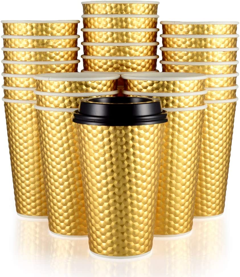 Fineiva 100 Set 16oz Gold Party Cups, Disposable Coffee Cups with Lids - Insulated Hot Cups To Go - Luxury Glitter Paper Cups - Premium Disposable Tumblers for Wedding, Travel, Birthday, Christmas