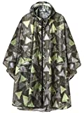 Unisex Stylish Rain Poncho Zipper Up Raincoats with Pockets for Women/Men Yellow Triangles