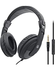 VCOM Over Ear Headphones with Microphone and Volume Control Lightweight Stereo Music Gaming Noise Cancelling Adjustable Headsets for PS4 Xbox one Smartphones iPhone Laptop Computer PC Mp3/4- Black