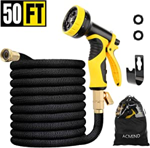 "Acmind 50FT Expandable Garden Hose, Extra Strength Fabric and Double Latex Core Water Hose, 3/4"" Solid Brass Fittings Flexible No-Kink Expanding Hose with 9 Function Spray Nozzle"