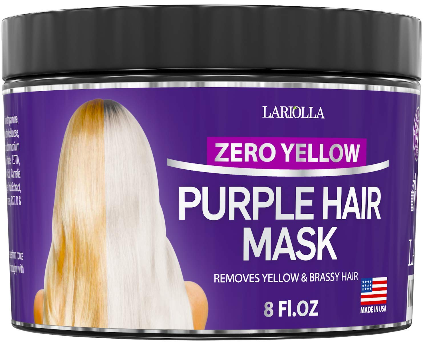 Purple Hair Mask for Blonde - Instantly Eliminate Brassiness & Yellows - Made in USA - Hair Toner with Keratin & Jojoba Oil - Bleached & Highlighted Hair - Sulfate Free - No Yellow Mask - 8oz by Lariolla
