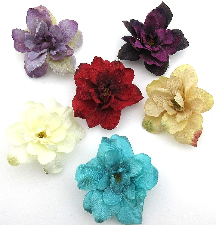 6 pc Lot Multi Color Apple Blossom Silk Flower Hair Clips