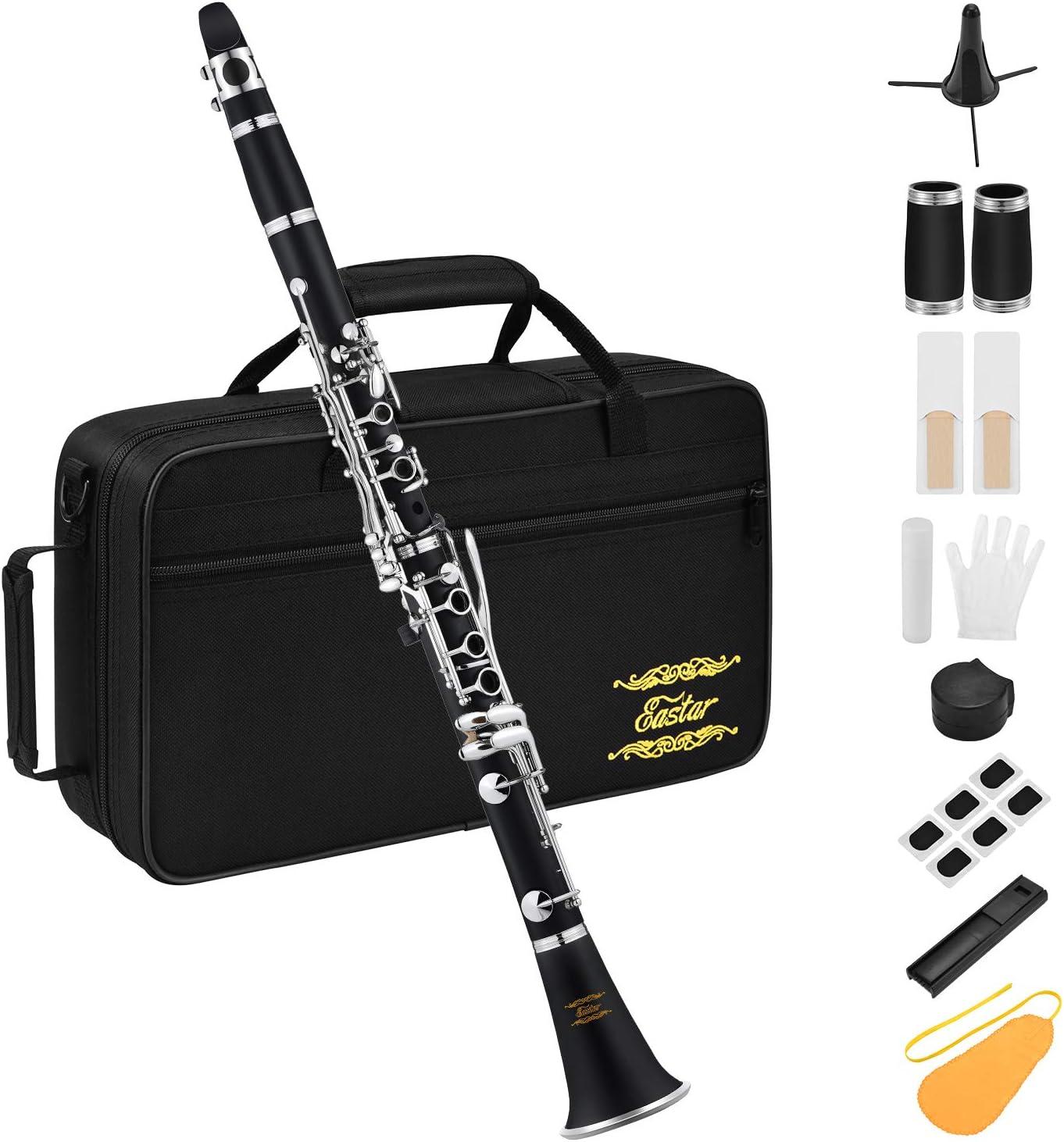 Eastar ECL-300 Clarinete ABS 17 Llaves B Flat Niquelado con Estuche, Boquilla, Cañas, Soporte y Estuche Para Principiante Estudiante: Amazon.es: Instrumentos musicales