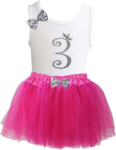 Kirei Sui Gold Bow Hot Pink Tulle Tutu /& Rhinetsone Birthday
