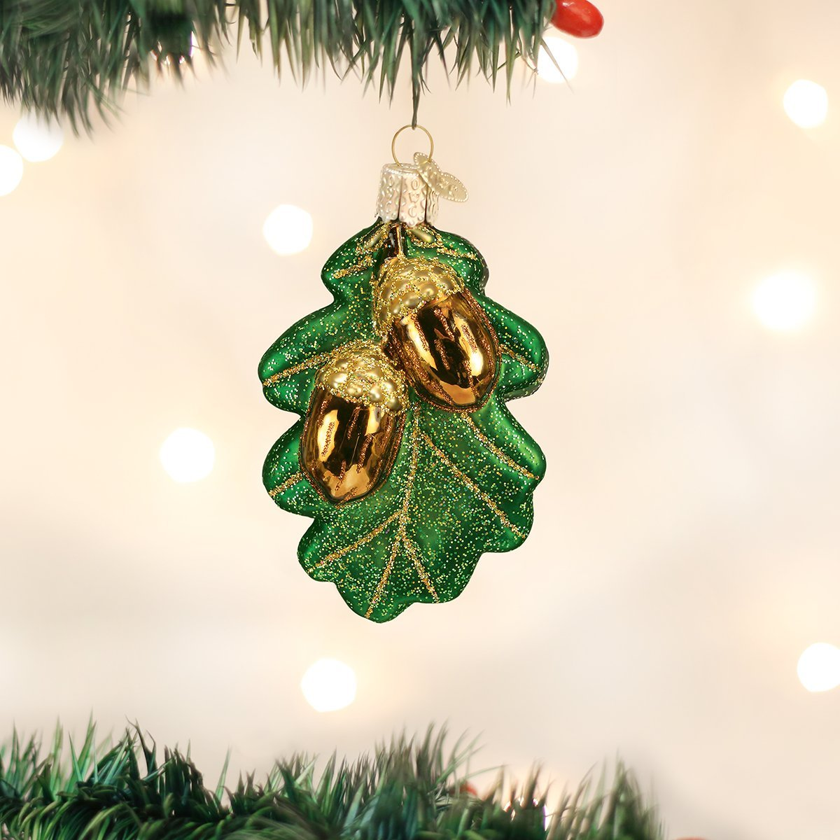 Old World Christmas Oak Leaf with Acorns Glass Blown Ornament