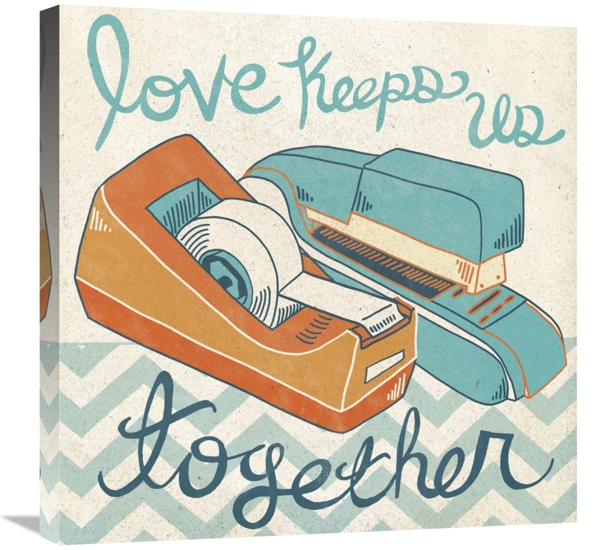 Global Gallery Mary Urban Love Keeps Us Together Orange Giclee Stretched Canvas Artwork 24 x 24
