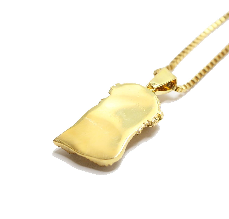 Amazon.com: 18k Gold Mini Jesus Piece Iced Out Pendant Chain ...