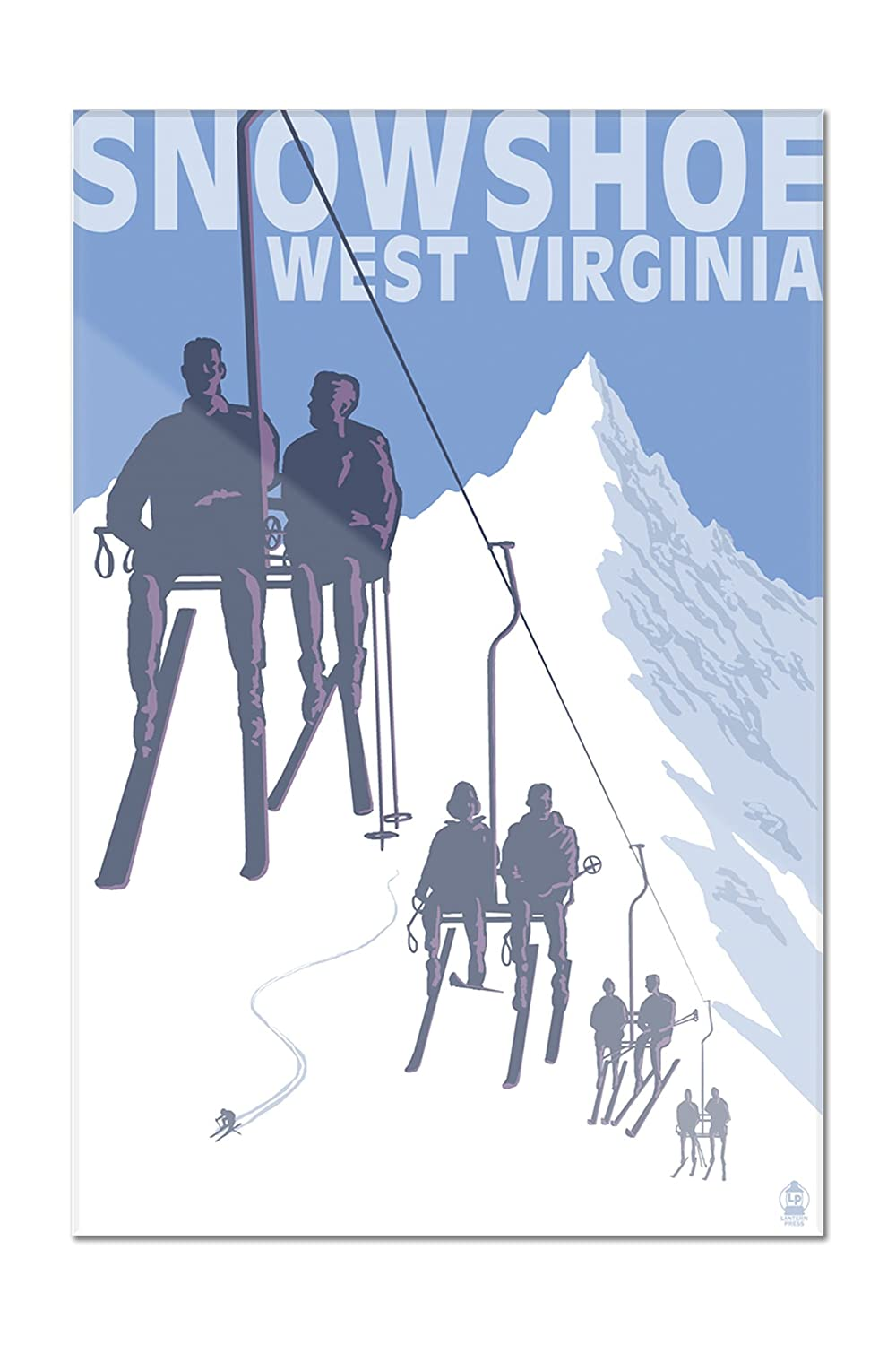 Snowshoe、West Virginia – Skiers onリフト 12 x 18 Acrylic Hanging Wall Decor LANT-3P-AC-WD-36515-12x18 12 x 18 Acrylic Hanging Wall Decor  B01N8QSMAW