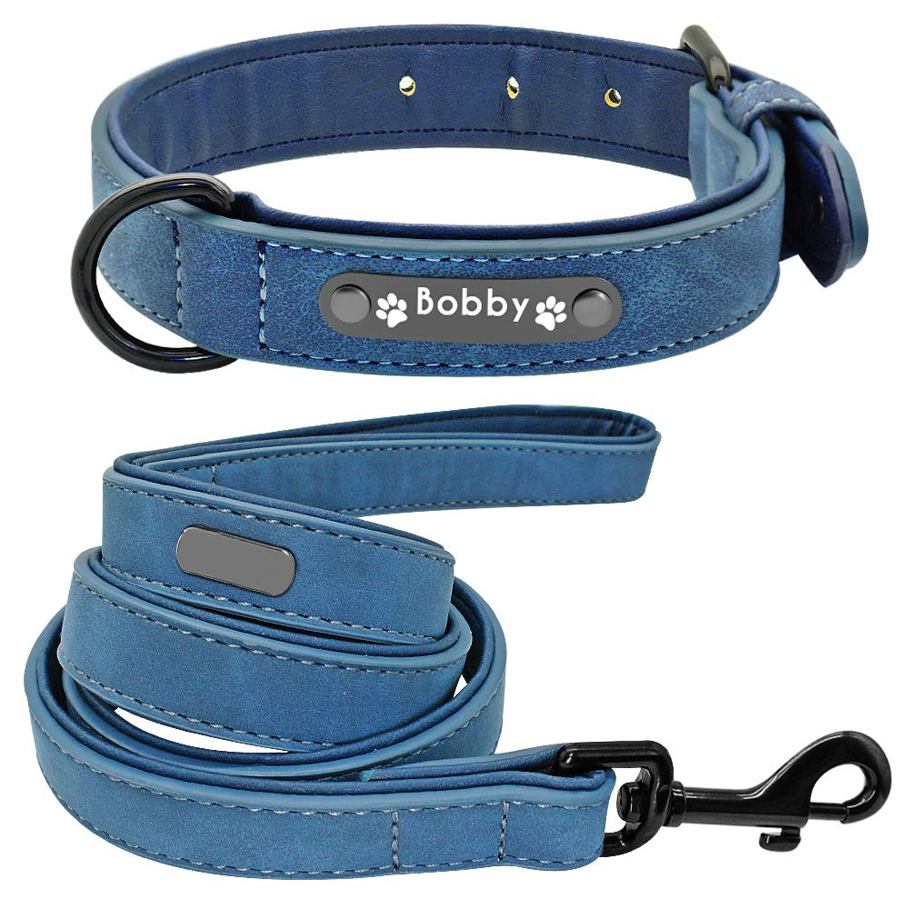 bluee XL bluee XL DOGKLDSF imitation leather Dog Collar Leash Set Personalized Soft Dogs Collars Lead Padded for Small Medium Large Dogs Pitbull French Bulldog,bluee,XL