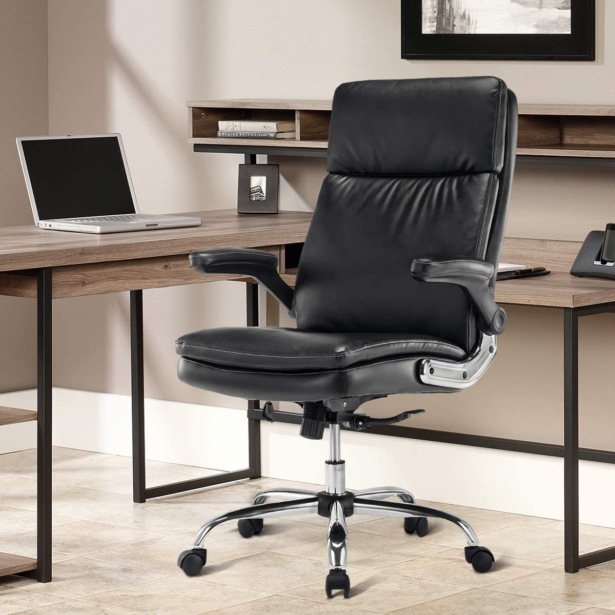SP PU Office Chair Adjustable Tilt Angle and Flip-up Arms Executive Computer Desk Chair, Thick Padding for Comfort and Ergonomic Design for Lumbar Support 6133BK