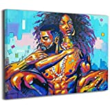 Okoart Canvas Wall Art Prints African American Lovers Couple Photo Paintings Contemporary Decorative Artwork for Living Room