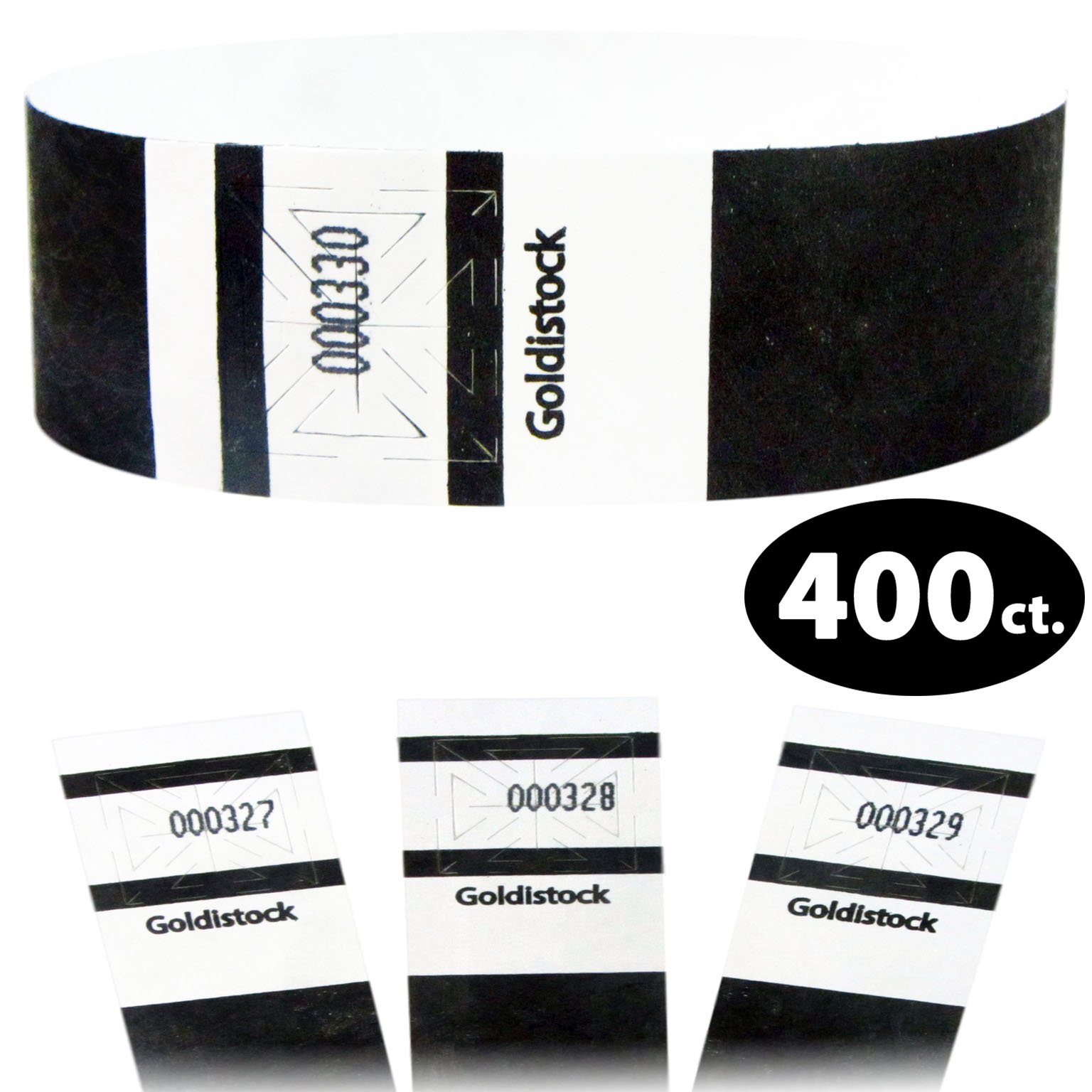 Goldistock Maximum Security One Inch Tyvek Wristbands Select Series Formal Deep Black 400 Count - Event Identification Bands (Paper - Like Texture)