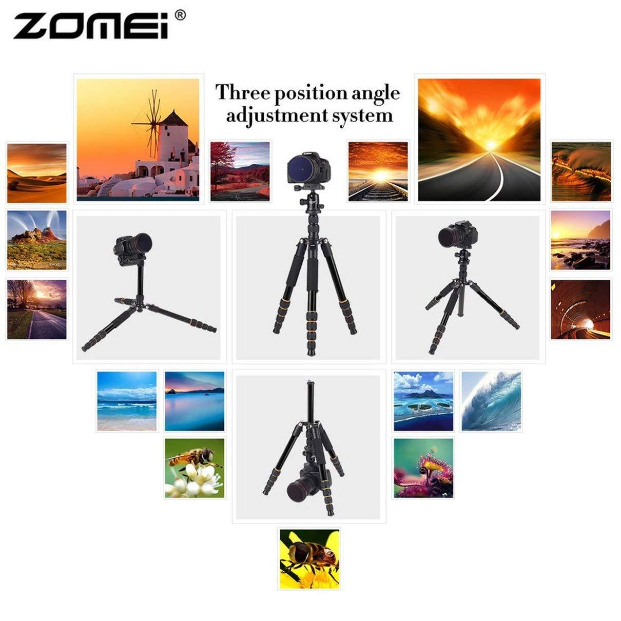 Zomei Q666 プロフェッショナル カメラ 三脚 軽量 ポータブル 旅行 アルミニウム 一脚 デジタル一眼レフカメラ用 360度ボールヘッド   B07MVSHQNX