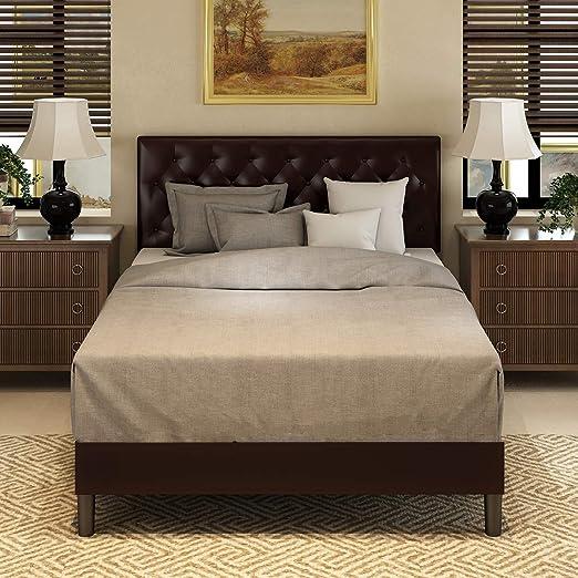 Full Size Platform Bed Frame Upholstered  Brown Leather Headboard  Wood Slats