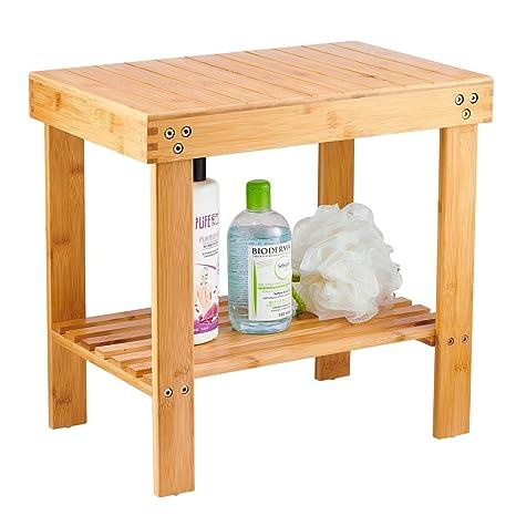 Amazon.com: Taburete de madera de bambú para reposapiés, con ...