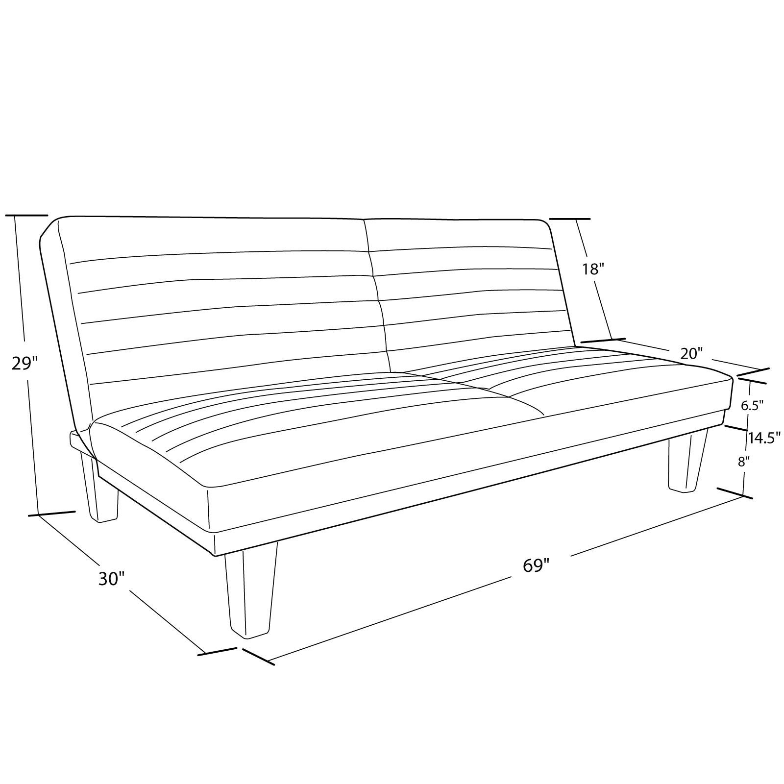 DHP Dillan Convertible Futon Couch Bed with Microfiber Upholstery and Wood Legs - Grey by DHP (Image #8)