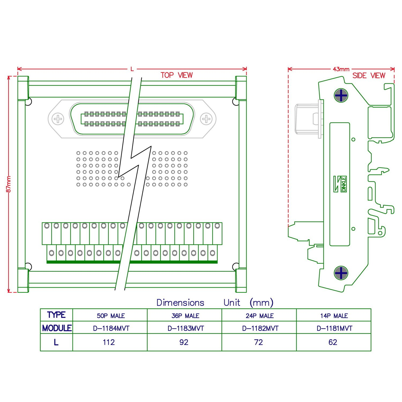 "Electronics-Salon DIN Rail Mount 24-Pin 0.085"" Centronics Male Ribbon  Connector Interface Module, Screw Terminal Block Breakout Board."