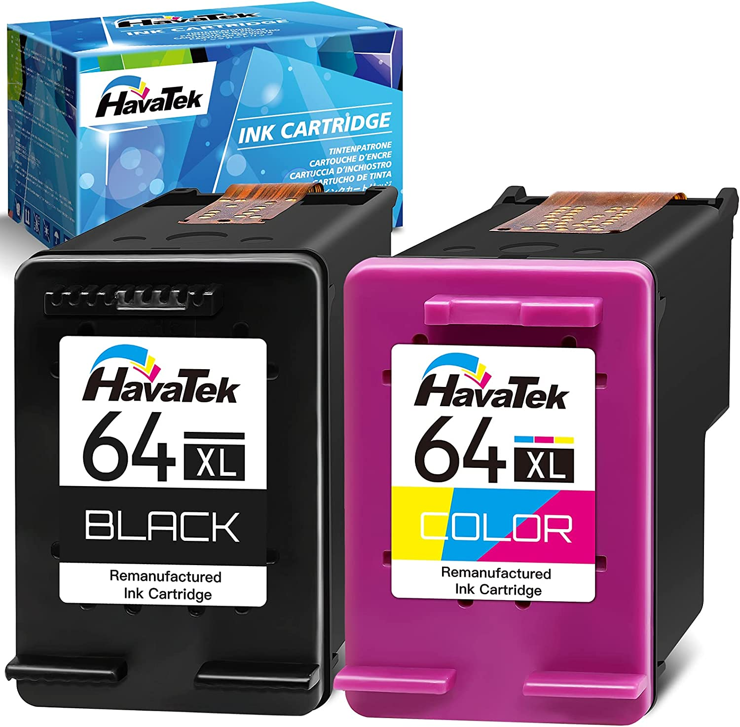 HavaTek Remanufactured Ink Cartridges Replacement for HP 64XL 64 XL (1 Black,1 Color) for HP Envy Photo 7800 7858 7155 7855 6220 6255 6252 7158 7164 6222 7120 7130 6230 6232 6234 Tango X Printer